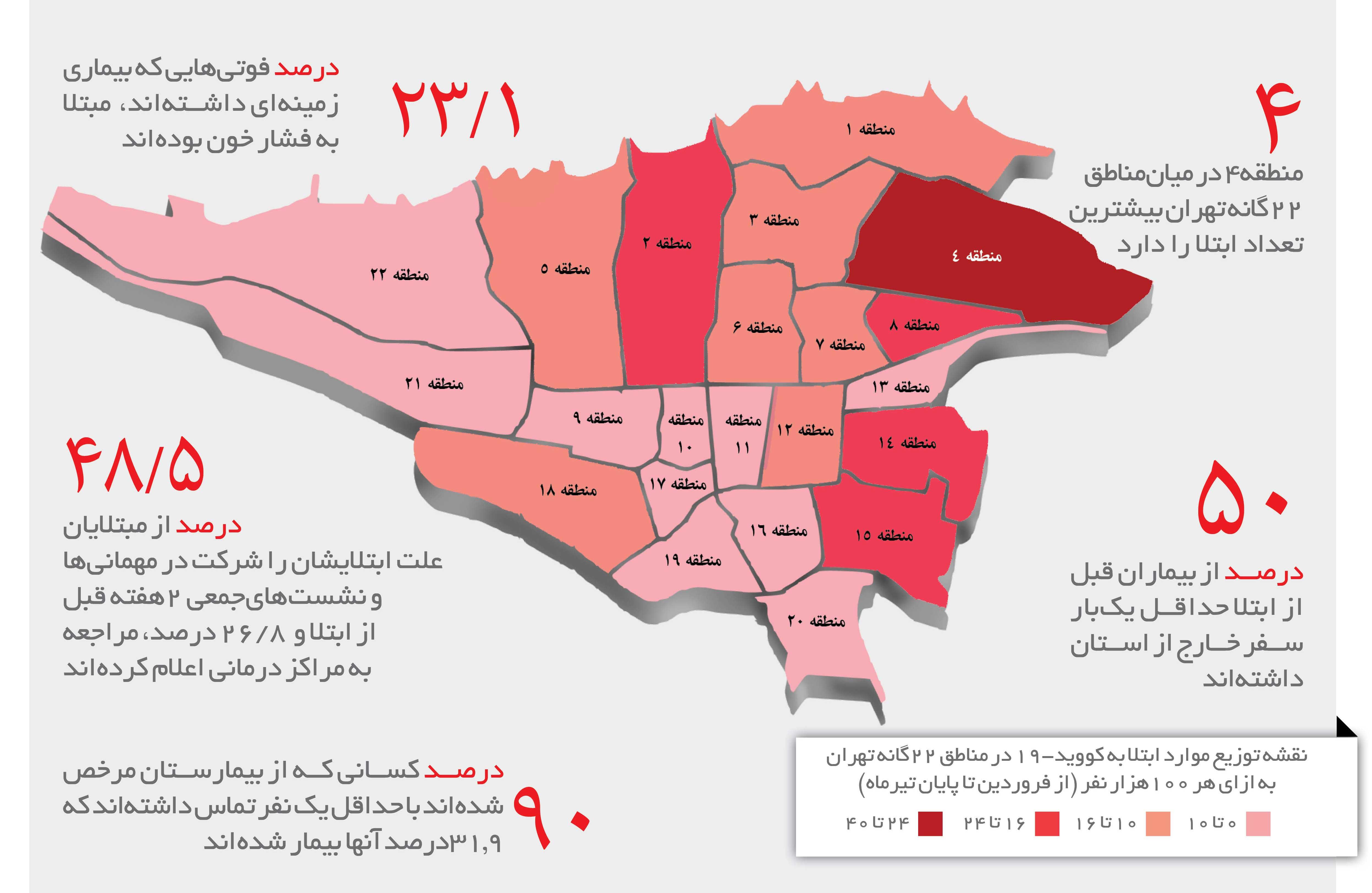 نقشه کرونا در تهران