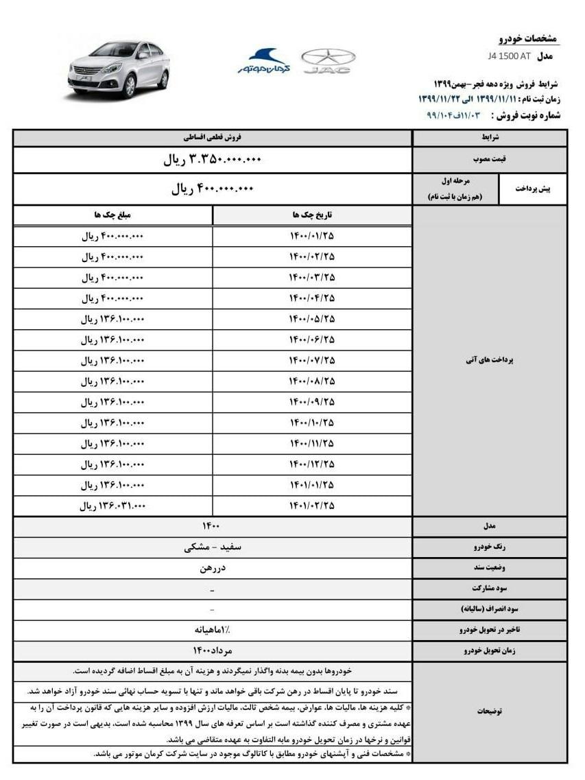 طرح فروش اقساطی کرمان موتور