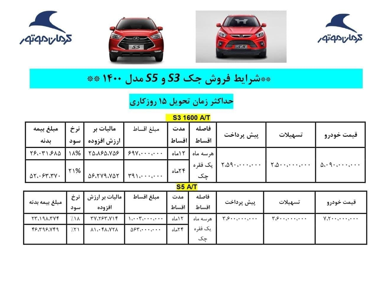 شرایط فروش اقساطی جک S3 و S5 خرداد 1400