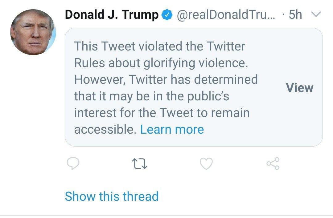 توییتر سانسور شده ترامپ