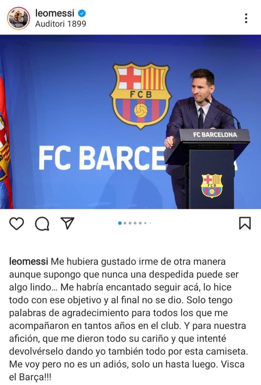 پیام اینستاگرامی مسی پس از جدایی از بارسلونا