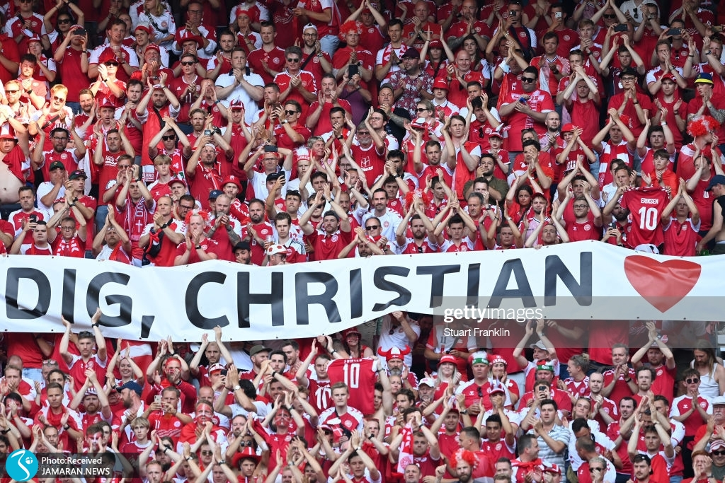 تشویق اریکسن در بازی دانمارک و بلژیک