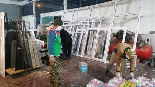 ضدعفونی محلات الشتر  تأمین ماسک و توزیع بسته غذایی بین نیازمندان