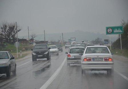 باران در محورهای شمالی کشور