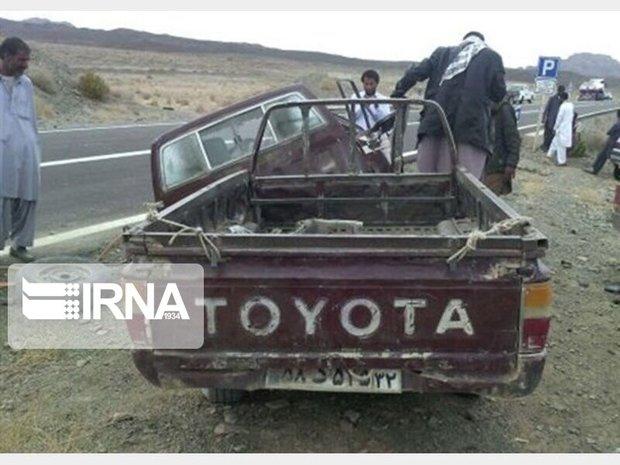 واژگونی خودرو قاچاق انسان در ایرانشهر ۶ کشته برجا گذاشت