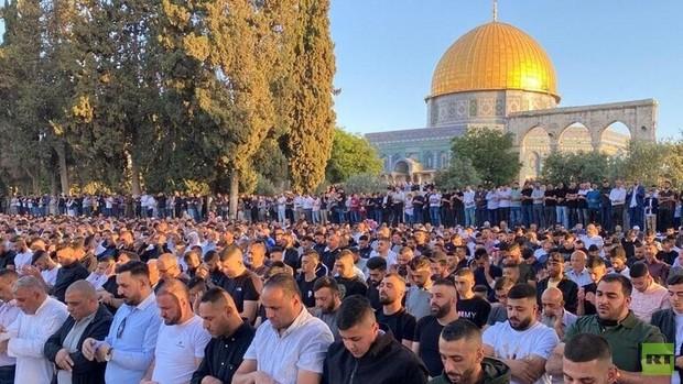 برگزاری نماز عید فطر در مسجد الاقصی با حضور100 هزار فلسطینی+تصاویر