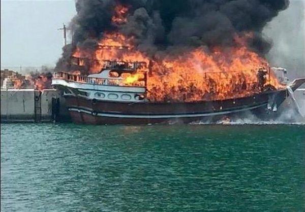 آتش گرفتن 11 شناور صیادی در بندرلنگه