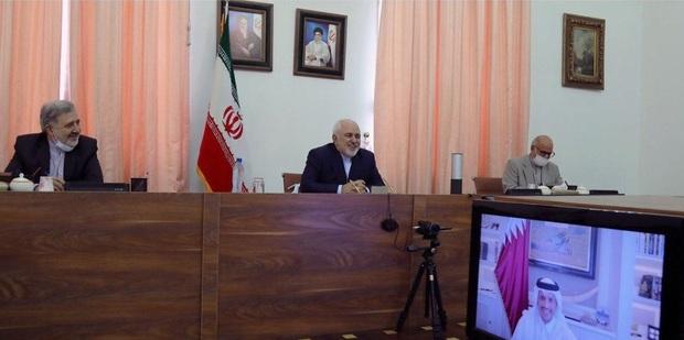 گفت و گوی ویدئو کنفرانسی ظریف و وزیر خارجه قطر