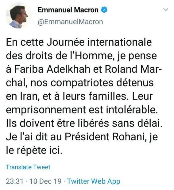 ماکرون خواستار آزادی اتباع فرانسوی بازداشتی در ایران شد