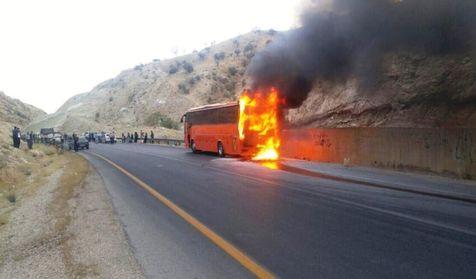 آتشسوزی اتوبوس مشهد به زاهدان بدون صدمه جانی