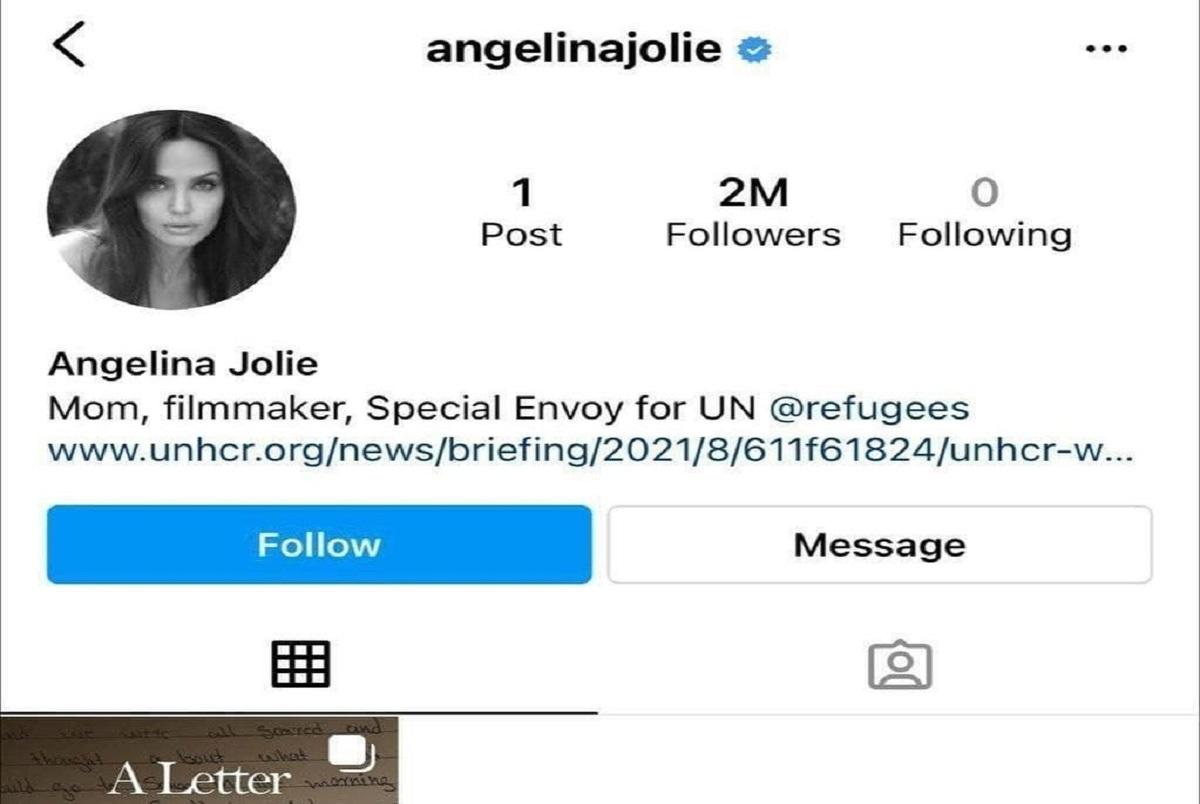 آنجلینا جولی برای حمایت از مردم افغانستان به اینستاگرام رفت + عکس