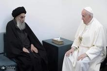 ببینید/ لحظه خداحافظی آیت الله سیستانی با پاپ فرانسیس