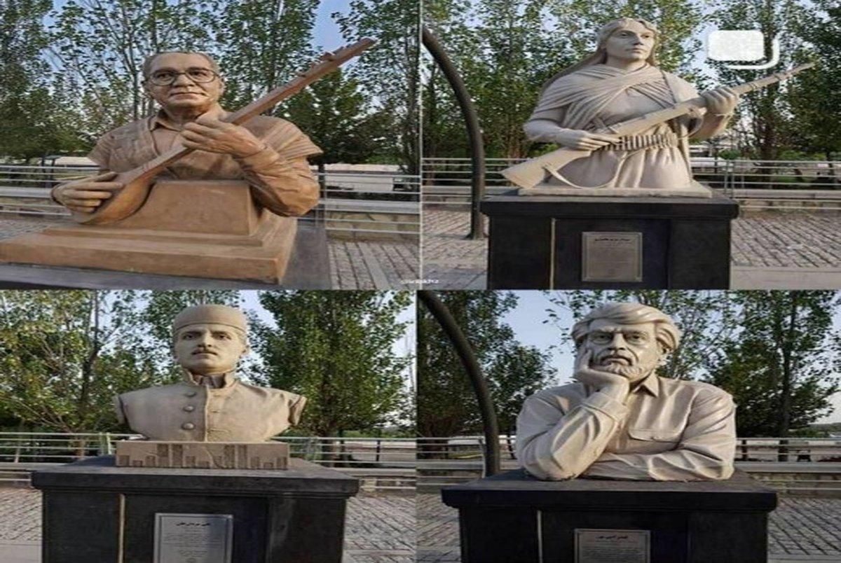 نصب تندیس قیصر امین پور و ۳ نامدار بختیاری در چیتگر