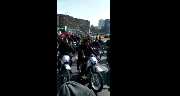 توهین به روحانی در راهپیمایی موتوری 22 بهمن در اصفهان