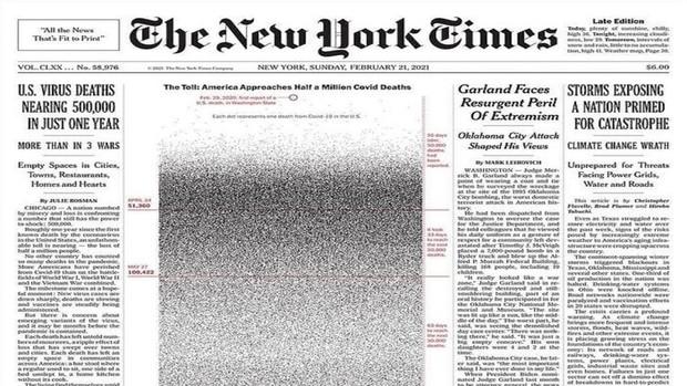 عکس عجیب صفحه نخست روزنامه نیویورک تایمز آمریکا+عکس