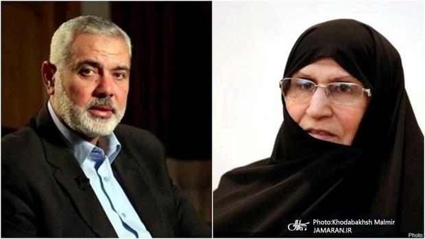 پیام تشکر رئیس دفتر سیاسی جنبش حماس برای دکتر زهرا مصطفوی