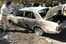 سرنشینان خودروی سواری در آتش سوختند