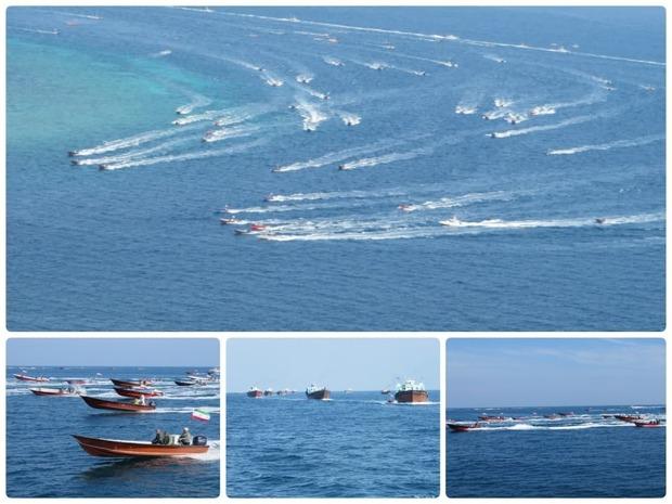 سومین رزمایش شناوری بسیج دریایی حوالی جزیره فارسی بوشهر + عکس و فیلم