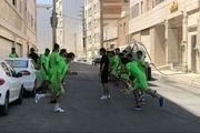 تمرین عجیب بازیکنان پارس جنوبی در خیابان+ عکس