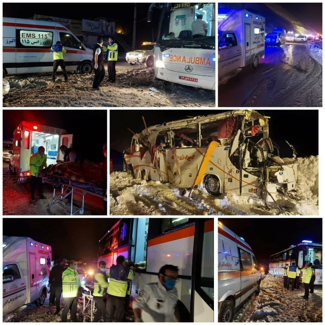 واژگونی اتوبوس در جاده کرج-چالوس/ ۲۰ تن کشته و زخمی شدند