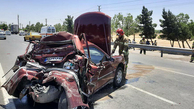 تصادف کامیون و خودروی پرشیا در جاده بهشت زهرا