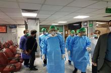 عیادت جهانگیری از بیماران بخش کرونای بیمارستان امام حسین(ع) + عکس