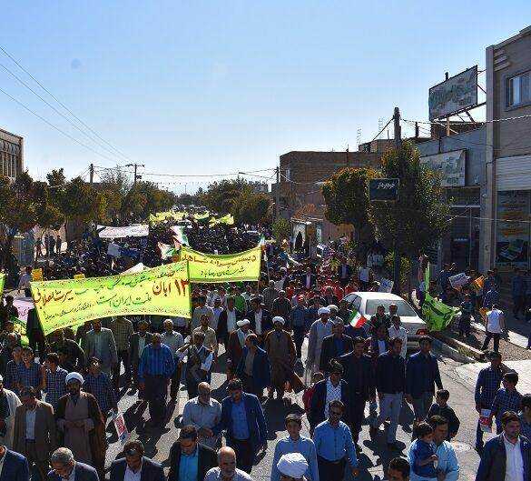 راهپیمایی یومالله ۱۳ آبان در بهاباد برگزار شد