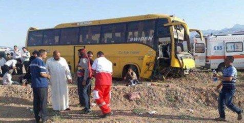 واژگونی اتوبوس زائران عراقی در دامغان با چهار مصدوم