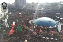 تصویر نمای بالا از حضور میلیون ها تهرانی در میدان انقلاب
