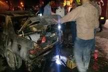 حریق خودرو پژو 405 در جایگاه سوختگیری