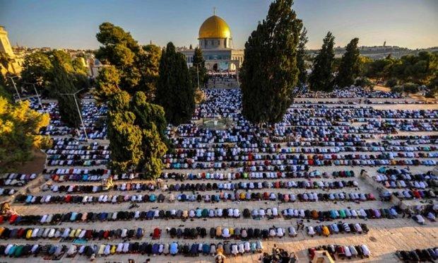 اقامه نماز عید قربان در مسجد الاقصی با حضور ده ها هزار فلسطینی+تصاویر