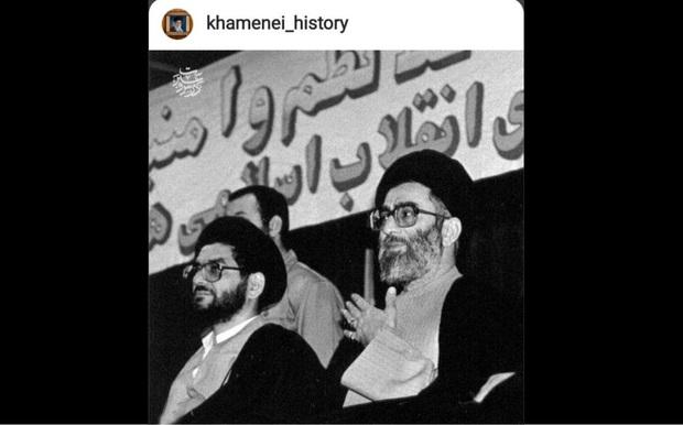 تصویری از مرحوم محتشمی پور در کنار رهبر انقلاب