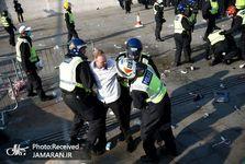 پلیس لندن با معترضان درگیر شد+ تصاویر