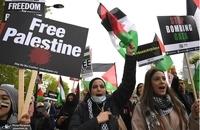 تظاهرات گسترده حمایت از مردم فلسطین در قلب لندن