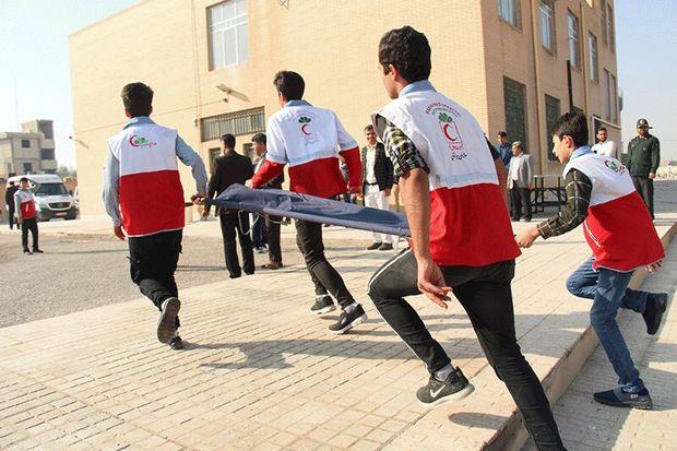 مانور سراسری زلزله در مدارس میبد برگزار شد