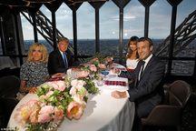 عکس/ شام ترامپ ها و ماکرون ها در برج ایفل