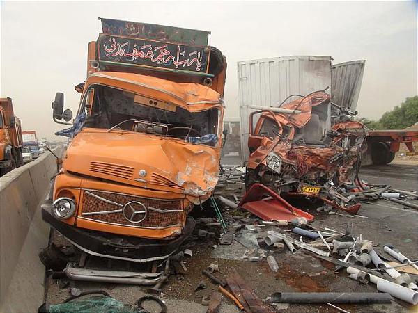 یک کشته در تصادف 2 خودروی سنگین